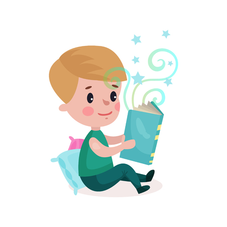 Cute little boy sitting on the floor and reading fairytale book, kids imagination concept cartoon colorful vector Illustration