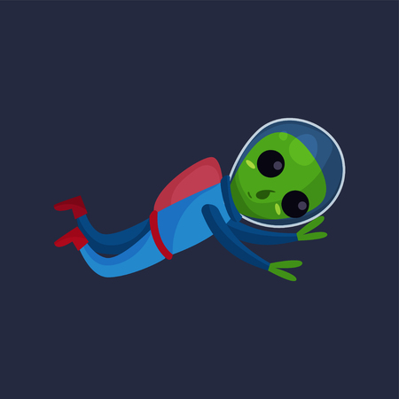 Friendly green alien with big eyes wearing blue space suit flying in Space, alien positive character cartoon vector Illustration on a dark blue background