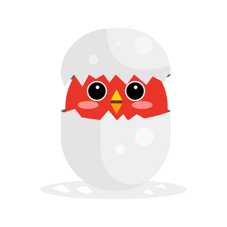 Cute newborn red bird character, funny nestling in egg cartoon vector Illustration on a white background Illustration