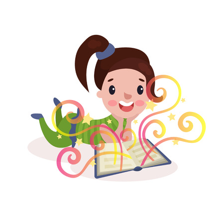 Sweet beautiful little girl lying on her stomach and reading fairytale book with imagination rainbow colorful vector Illustration