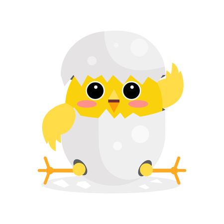 Cute newborn yellow chicken character, funny nestling in egg cartoon vector Illustration