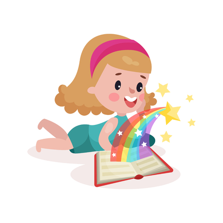 tummy time: Cute little girl lying on her stomach and reading fairytale book with imagination rainbow colorful cartoon vector Illustration on a white background