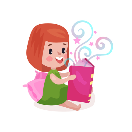 Sweet little girl sitting on a pillow and reading fairytale book, kids imagination concept colorful cartoon vector Illustration Stock Photo