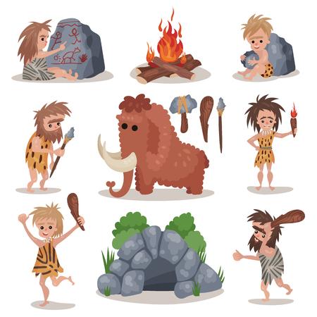 Set preistorico di età della pietra Vettoriali