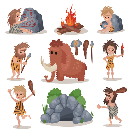 Prehistoric stone age set Illustration