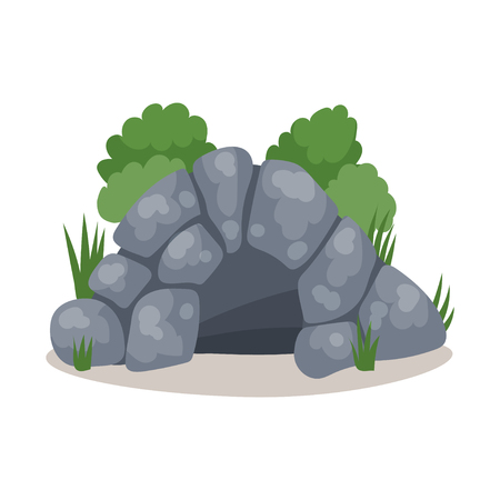 Stone cave, cavemans dwelling colorful vector Illustration