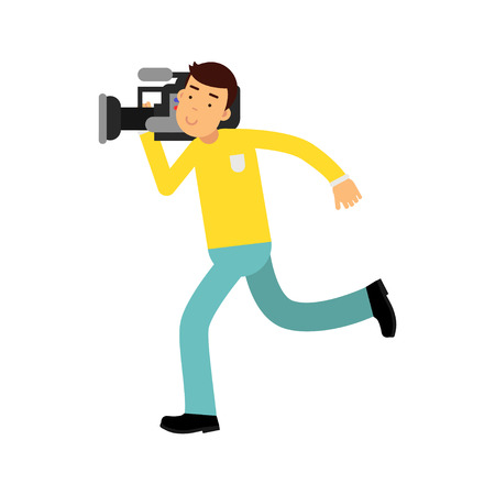journalism: Cameraman character running with a professional camera on his shoulder vector Illustration Illustration