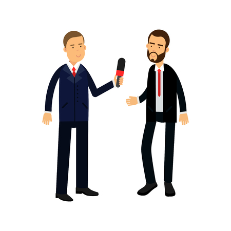 Male journalist character with a microphone making interview with a businessman vector Illustration