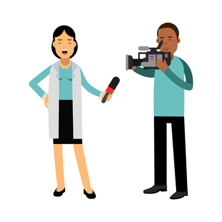 journalism: Female reporter and cameraman operator characters filming news while reporter speaking with microphone, journalist doing report vector Illustration