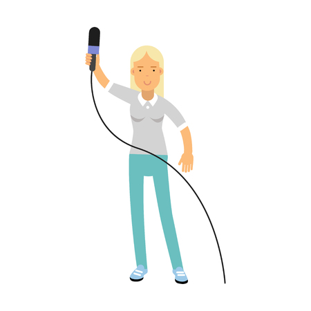journalism: Blonde female reporter character standing with a raised microphone, journalist doing report vector Illustration