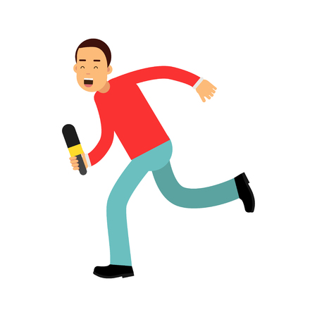 Male reporter character runnung with a microphone, journalist doing report vector Illustration