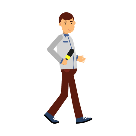Male reporter character walking with a microphone, journalist doing report vector Illustration