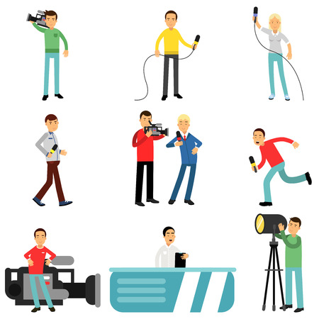Journalists at work set, reporters and cameramen shooting and interviewing people creating tv broadcast vector Illustrations Vettoriali