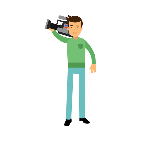 Cameraman character standing and holding professional camera on his shoulder vector Illustration