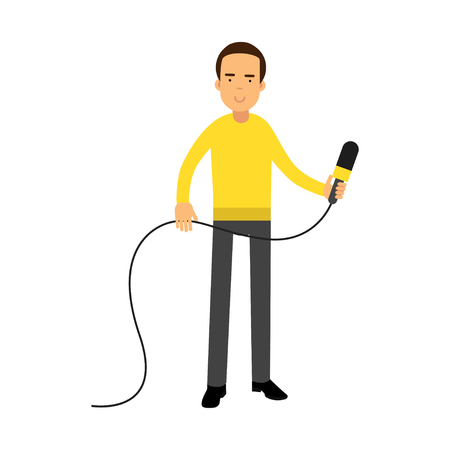 Male reporter character standing with a microphone, journalist doing report vector Illustration