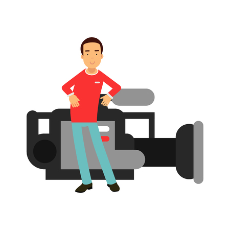 Cameraman character standing next to a giant professional camera vector Illustration