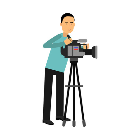 journalism: Cameraman character looking through a movie camera on a tripod vector Illustration
