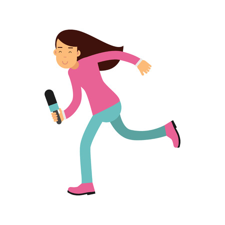 Brunette female reporter character runnung with a microphone, journalist doing report vector Illustration
