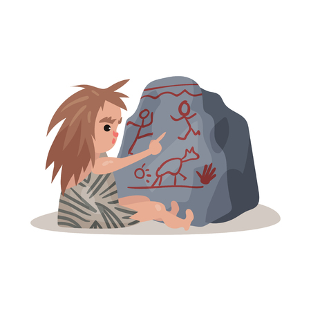 Stone age cave kid sitting on the floor and painting on the stone using his finger, colorful vector illustration