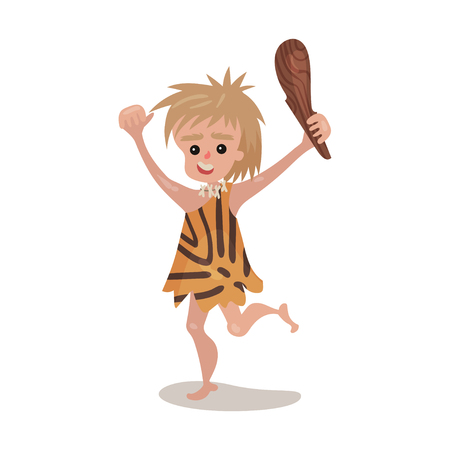 Prehistoric cave boy wearing in an animal skin running with a cudgel, stone age character colorful vector Illustration