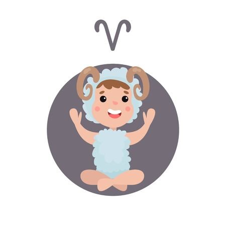 Cute little baby as Aries horoscope sign, in colorful cartoon character Illustration.