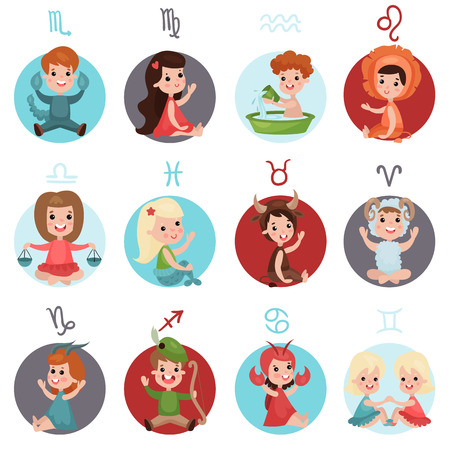 Adorable little kids wearing horoscope signs costumes set, in cartoon character Illustrations.