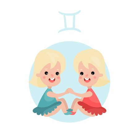 Cute little girl as Gemini astrological sign on a white background.