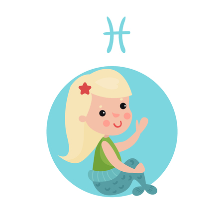 Sweet little girl as Pisces astrological sign, horoscope zodiac character colorful cartoon vector Illustration on a white background Illustration