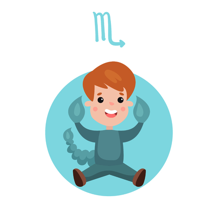 Cute little boy as Scorpio horoscope sign, in colorful cartoon character illustration.