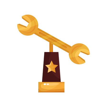 praise: Golden wrench award, trophy statuette cartoon Illustration on a white backdrop.