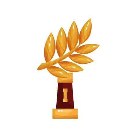 praise: Golden laurel branch award, trophy statuette cartoon vector Illustration Stock Photo