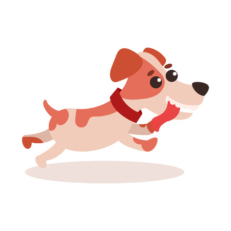 A Jack Russell terrier character running on white background.