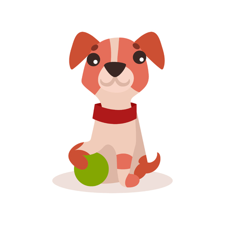 A Jack Russell terrier character playing with green ball. Illustration