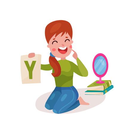 Een glimlachende vrouwelijke spraakterapeut die op de vloer zit en toont letter Y. Stock Illustratie