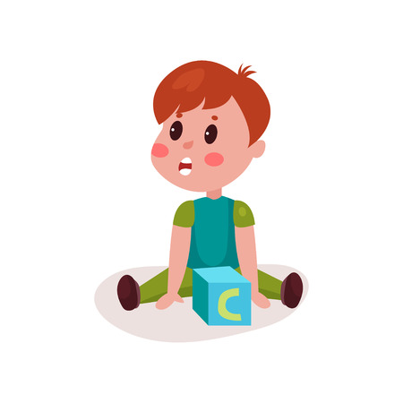 baby toy: Cute little boy sitting on the floor playing with block toy, kid learning through fun and play colorful cartoon vector Illustration