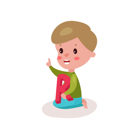 baby toy: Cute little boy sitting on the floor playing with letter R, kid learning through fun and play colorful cartoon vector Illustration on a white background