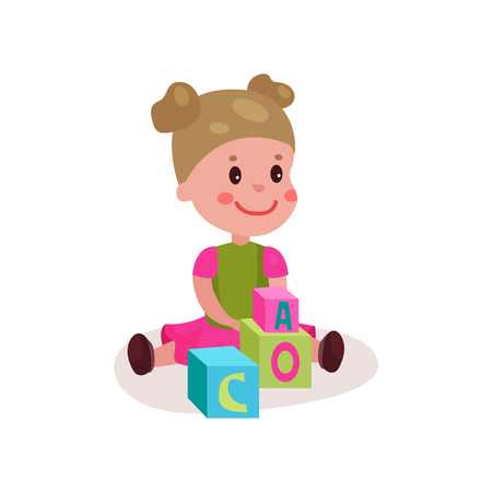 baby toy: Cute little girl sitting on the floor playing with block toys, kid learning through fun and play colorful cartoon vector Illustration Illustration
