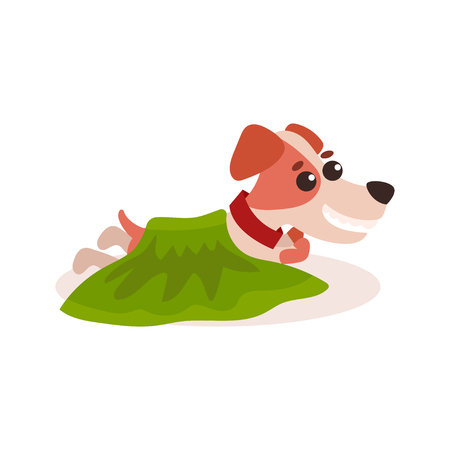 A Jack russell terrier character lying on the floor under a green blanket, cute funny dog vector Illustration Illustration