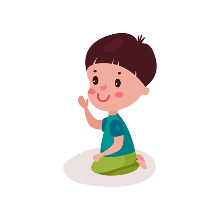 baby toy: Cute dark haired little boy sitting on the floor, kid learning and playing colorful cartoon vector Illustration on a white background