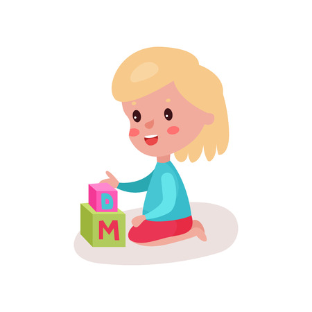 baby toy: Cute blonde little girl sitting on the floor playing with block toys, kid learning through fun and play colorful cartoon vector Illustration on a white background