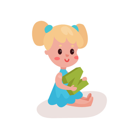 baby toy: Sweet blonde little girl sitting on the floor playing with letter N, kid learning through fun and play colorful cartoon vector Illustration on a white background