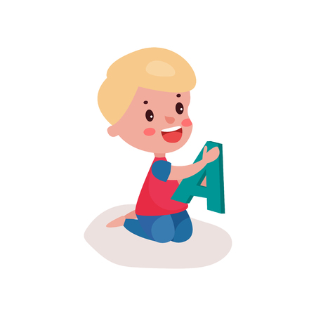 baby toy: Cute blonde little boy sitting on the floor playing with letter A, kid learning through fun and play colorful cartoon vector Illustration