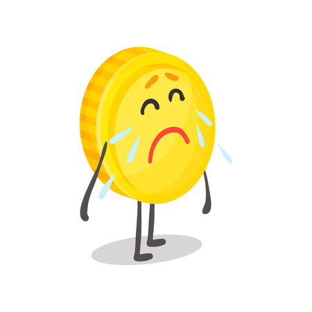 Unhappy weeping golden coin humanized character, money and finance concept cartoon vector Illustration Иллюстрация