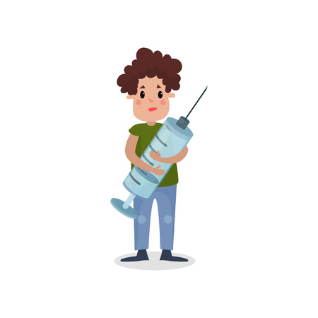 Young man holding giant syringe, harmful habit and addiction cartoon vector Illustration