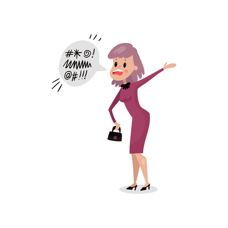 Angry young woman swearing, harmful habit and addiction cartoon vector Illustration