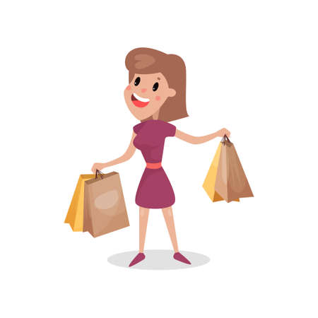 Happy shopaholic girl with paper shopping bags, harmful habit and addiction cartoon vector Illustration