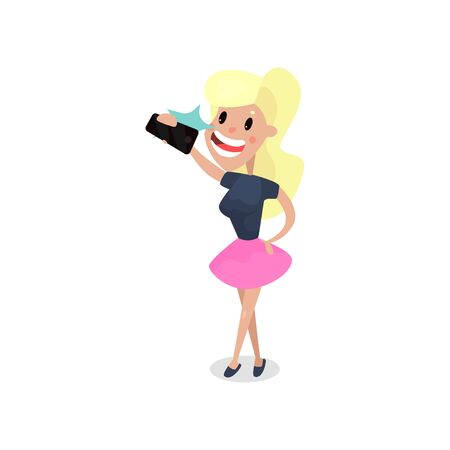 Beautiful blonde woman taking selfie with smartphone, harmful habit and addiction cartoon vector Illustration Stock Photo