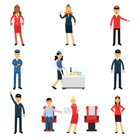 Pilot and stewardess at work during the flight set vector Illustrations.