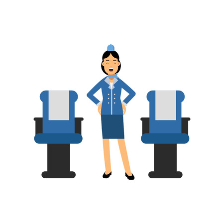 Stewardess in red uniform standing inside an airliner passenger cabin and gesturing vector Illustration on a white background