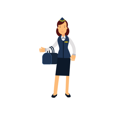 captain cap: Stewardess in blue uniform standing with bag vector Illustration on a white background